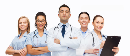 medics: healthcare, profession, people and medicine concept - group of medics with stethoscopes Stock Photo