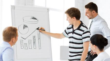 sonriente equipo de negocios que trabajan con el papelógrafo en el cargo