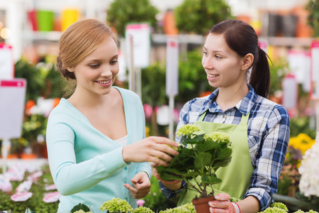 greenhouse and ecology: people, gardening, shopping, sale and consumerism concept - happy gardener helping woman with choosing flowers in greenhouse Stock Photo