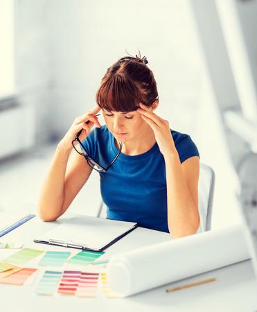 interior designer: interior design and renovation concept - stressed interior designer