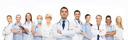 doctor with stethoscope: healthcare, profession, people and medicine concept - group of medics with stethoscopes Stock Photo