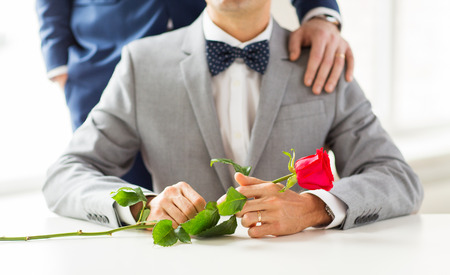 same sex: people, celebration, homosexuality, same-sex marriage and love concept - close up of male gay couple with red rose flower putting hand on shoulder