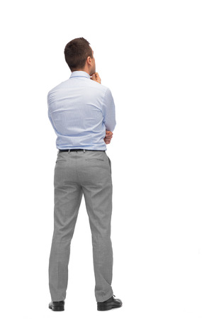 Affaires, les gens, dilemme, vue arrière et le concept de bureau - affaires pensant de l'arrière Banque d'images - 39594600