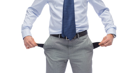 business, people, bankruptcy and failure concept - close up of businessman showing empty pockets