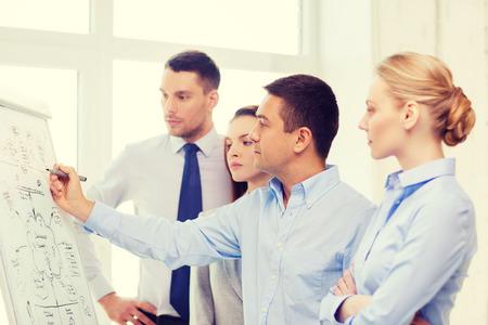 escritura: los negocios, la educación y el concepto de oficina - equipo de negocios serio con junta de tapa en la oficina hablando de algo