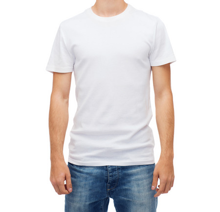 t shirt model: t-shirt design and people concept - smiling young man in blank white t-shirt
