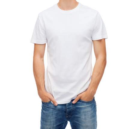 t shirt white: t-shirt design and people concept - smiling young man in blank white t-shirt