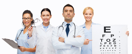 eye care professional: healthcare, eyesight, ophthalmology, people and medicine concept - group of doctors with eye chart and glasses