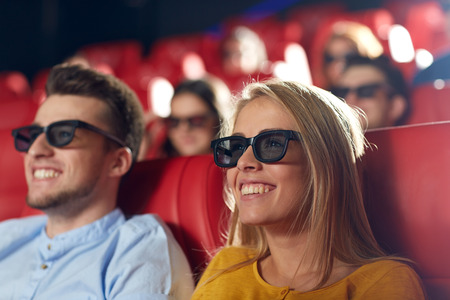 family movies: cinema, entertainment and people concept - happy friends with 3d glasses watching movie in theater