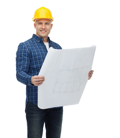 repairer: repair, construction, building, people and maintenance concept - smiling male builder or manual worker in helmet with blueprint Stock Photo