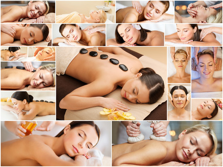 facial: beauty, healthy lifestyle and relaxation concept - collage of many pictures with beautiful young women having facial or body massage in spa salon Stock Photo