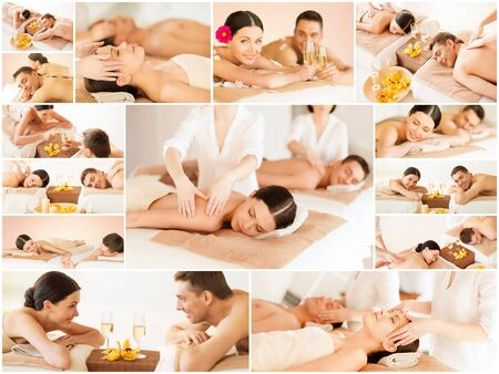 health and beauty, resort and relaxation concept - collage of many pictures with happy family couple in spa salon getting massage photo