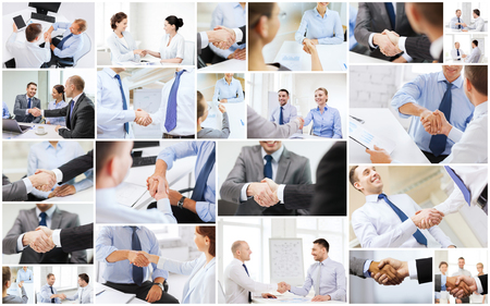 deal in: business deal and office concept - collage with many different people shaking hands in office