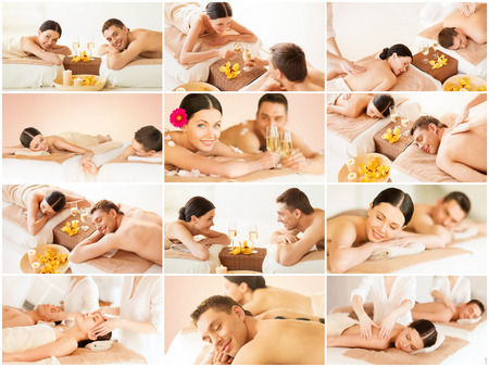 beauty resort: health and beauty, resort and relaxation concept - collage of many pictures with happy family couple in spa salon getting massage