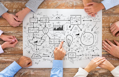 business, people, strategy, planning and team work concept - close up of creative team sitting at table and pointing finger to scheme in office
