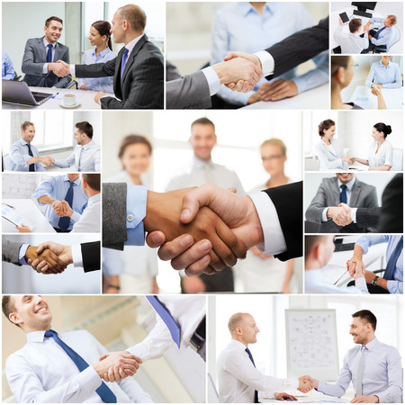 INTERNATIONAL BUSINESS: acuerdo de negocios y el concepto de oficina - collage con diferentes personas dándose la mano en la oficina