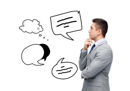 ビジネス、人々、コミュニケーションおよび情報の概念 - 本文のスーツのビジネスマンにバブルいたずら書きの意思を考えて 写真素材 - 40249078