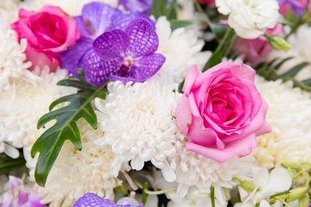 floristic: gardening, floristic, holidays and flora concept - beautiful flowers decoration
