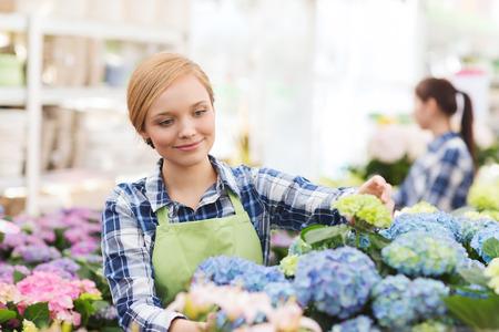 mensen tuinieren en beroep concept gelukkig vrouw of tuinman het verzorgen van de bloemen in de kas Stockfoto