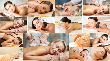 massage herbal: beauty healthy lifestyle and relaxation concept  collage of many pictures with beautiful young women having facial or body massage in spa salon
