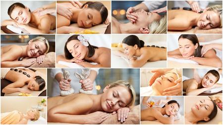 collage caras: la belleza del estilo de vida saludable y el concepto de relajación collage de muchas fotos con hermosas mujeres jóvenes que tienen masaje facial o corporal en el salón spa