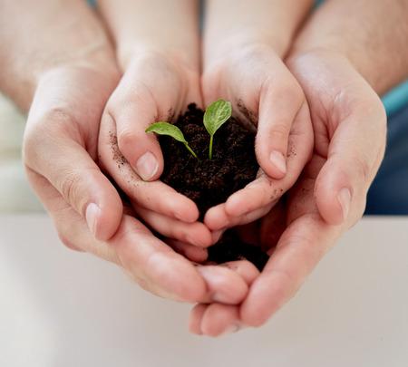 Menschen, Liebe, Familie und Ökologie-Konzept - Nahaufnahme von Vater und Mädchen, die Erde mit grünen Spross in hohlen Händen zu Hause