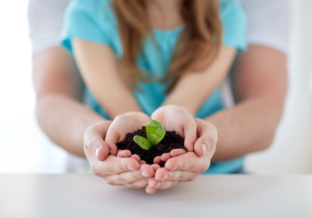 people, charity, family and ecology concept - close up of father and girl holding soil with green sprout in cupped hands at home Banco de Imagens