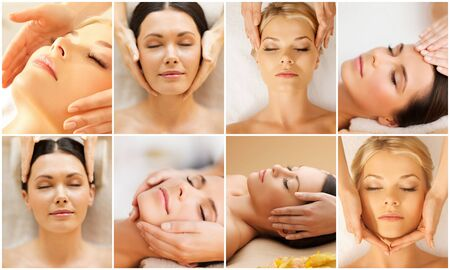 spa collage: beauty, healthy lifestyle and relaxation concept - collage of many pictures with beautiful young women having facial treatment in spa salon