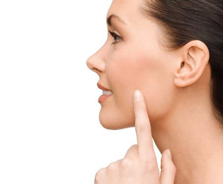 Woman Neck Shoulder Lips Nose Chin Cheeks Stock Photo | Thinkstock