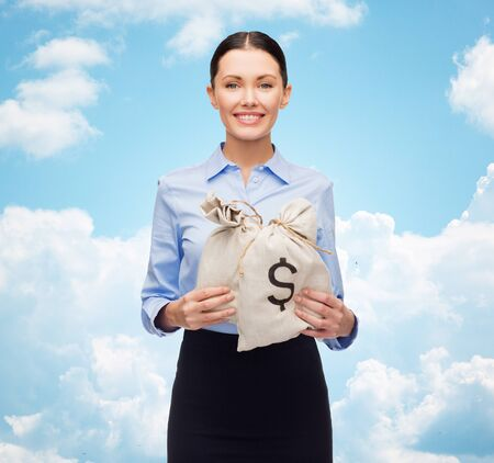 money bags: business, people, finances, investments and banking concept - young businesswoman holding money bags with euro over blue sky and clouds background Stock Photo