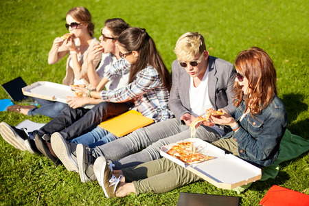 junk: education, food, people and friendship concept - group of happy teenage students eating pizza and sitting on grass