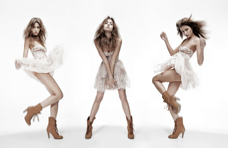 sexy fashion: triple image of the same fashion model in different poses