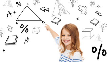 virtual school: education, school and technology concept - cute little girl pointing to triangle on virtual screen