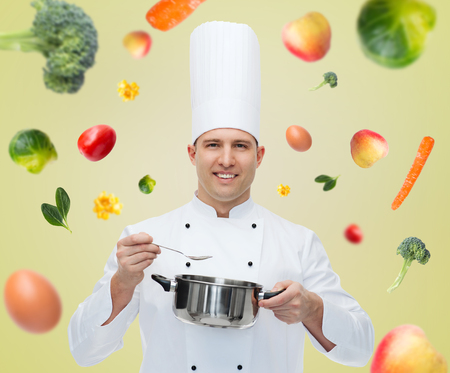 chef cocinando: cooking, profession and people concept - happy male chef cook with pot and spoon