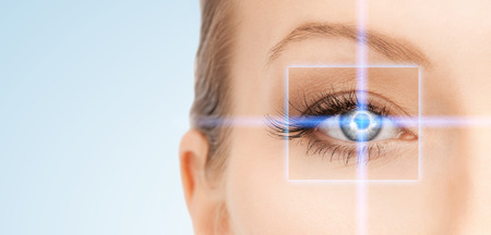 picture of beautiful woman pointing to eye Banco de Imagens - 41728483