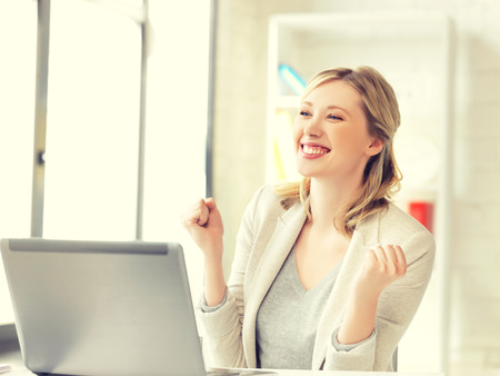 yuppie: picture of business woman with expression of tryumph