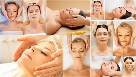 treatments: beauty, healthy lifestyle and relaxation concept - collage of many pictures with beautiful young women having facial treatment in spa salon