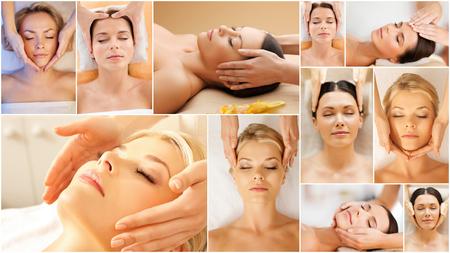 masajes faciales: belleza, estilo de vida saludable y el concepto de relajaci�n - collage de muchas fotos con hermosas mujeres j�venes que tienen un tratamiento facial en el sal�n del balneario Foto de archivo