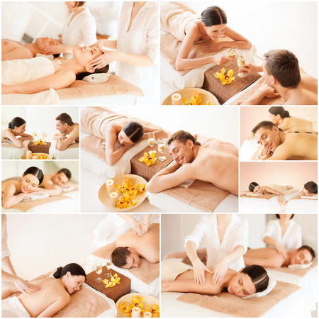 massage: health and beauty, resort and relaxation concept - collage of many pictures with happy family couple in spa salon getting massage