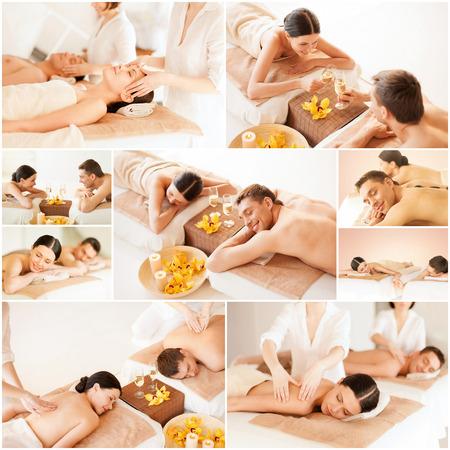 masaje: salud y belleza, centro tur�stico y la relajaci�n concepto - collage de muchas fotos con pareja feliz de la familia en el sal�n del balneario que consigue masaje Foto de archivo