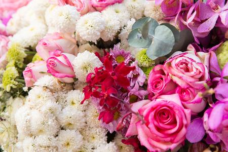 floristic: gardening, floristic, holidays and flora concept - beautiful flowers assortment
