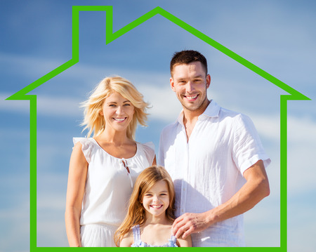 real: home, happiness and real estate concept - happy family over blue sky background and house shaped illustration