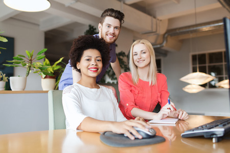 happy business team: business, startup and people concept - happy creative team in office