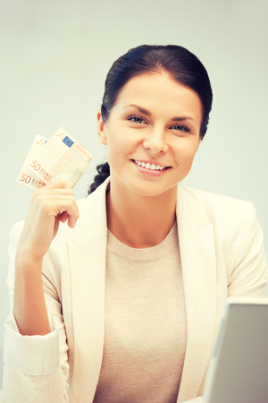 cash money: picture of lovely woman with euro cash money