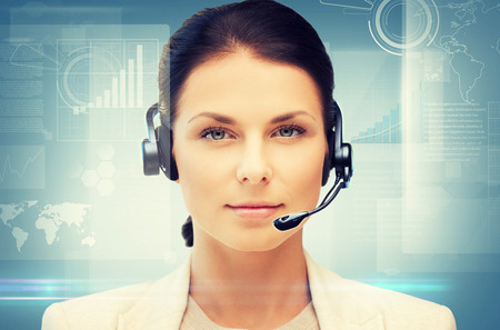 business, office, technology, future concept - friendly female helpline operator Stock Photo