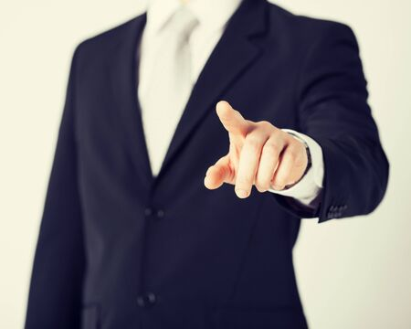 prohibition: picture of man hand pointing at something Stock Photo