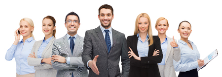 young executive: business, people, gesture and office concept - group of smiling businessmen showing thumbs up