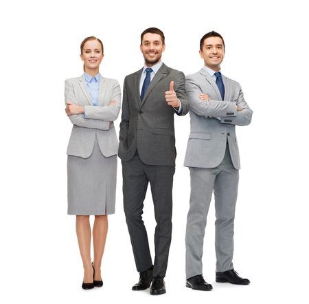 ビジネス、人々、ジェスチャー、オフィス コンセプトの示す笑顔のビジネスマンのグループは親指します。 写真素材