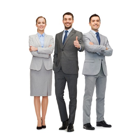 latin people: business, people, gesture and office concept - group of smiling businessmen showing thumbs up