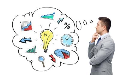 gestion del tiempo: negocio, la gente, la gesti�n y la planificaci�n concepto - pensando hombre de negocios en traje con la burbuja de texto y garabatos de toma de decisiones